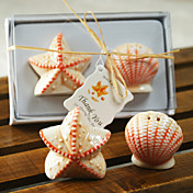 Ceramic Shell &amp; Star Salt &amp; Pepper Shakers Wedding Favor (Set of 2)