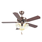 Bell Designed Wooden Hugger Ceiling Fan with 3 Lights White Glass Shades