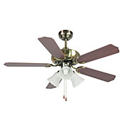 Wooden Hugger Ceiling Fan with 3 Lights Anodizing Finish