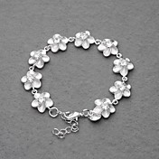 Gorgeous Silver Plated White Crystal Plum Flower Women's Bracelet