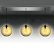 3 - Licht modernen Glas Pendelleuchten in transparent braun Bubble-Design