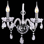 Modern Crystal Wall Lights with 2 Lights in Candle Feature