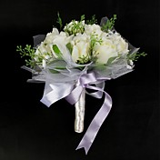 Elegant Satin / Cotton With Ribbon Round Shape Wedding Bouquet