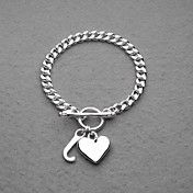 Fashion Silver Plated Heart&amp;J Unisex Bracelet