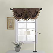 Solid Brown Waterfall Valance (58&quot;Wx38&quot;L)