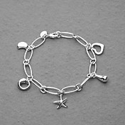 Beautiful Silver Plated Five Charms Women's Bracelet
