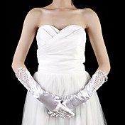 Satin Elbow Length Fingertips Bridal Gloves With Embroidery (More Colors)