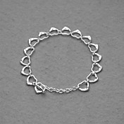 Beautiful Silver Plated All Small Hearts Women's Bracelet