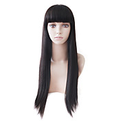 Capless Mono Top Natural Look Long Black Straight Human Hair Wig