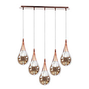 5 - Light Artistic Pendant Light with Glass Shade Rain Drop Design