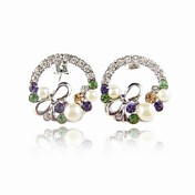 Charming Alloy Crystal/Pearl Round Stud Earrings