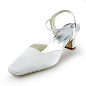 Satin Chunky Heel Square Toe Sandals Wedding Shoes (More Colors)