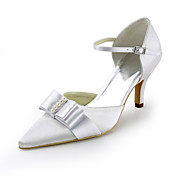 Satin Stiletto Heel Pointy Toe Pumps With Imitation Pearl / Bowknot Wedding Shoes (More Colors)