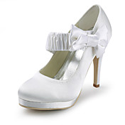 Satin Stiletto Heel Closed Toe Pumps With Bowknot Wedding Shoes (More Colors)