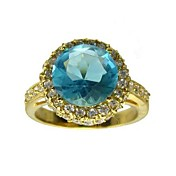18K Platinum Plated &amp; Top Round Crystal Fashion Ring(More Colors)