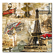 Printed Paris City Eiffel Tower Canvas Art with Stretched Frame