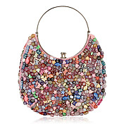 Pretty Cotton with Multicolor Acryl Shapes Evening Handbag/Wristlet