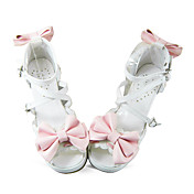 Handmade White PU Leather 6.3cm High Heel Pink Bow Sweet Lolita Shoes