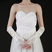 Satin Fingertips Elbow Length Bridal Gloves With Ruched (More Colors)