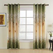 (Two Panels) Green Maple Leaf Energy Saving Curtains