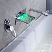 Sprinkle® by Lightinthebox - LED Waterfall Tub Faucet with Pull-out Hand Shower (Wall Mount)