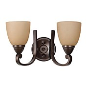 Antique Metal Wall Lights with 2 Light in Glass Shades
