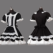 Short Sleeve Knee-length Black Cotton Shiro& Kuro Lolita Dress