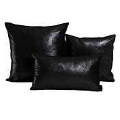 Set of 3 Stylish Black Polyester Decorative Pillow Cover