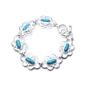 Elegant Fashion Jewelry Six Flower Imitation Gem Stone Silver Plate Bracelet