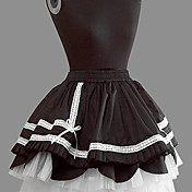 Short Black Cotton White Lace Princess Lolita Skirt
