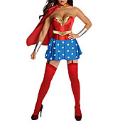 Superman Sexy Supergirl voksne kvinner Halloween Costume (4Pieces)