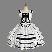 Sleeveless Knee-length White Cotton Black Trim Shiro& Kuro Lolita Dress