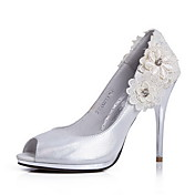 Elegant Leather Stiletto Heel Pumps/Peep Toe With Flower Wedding/Party Shoes
