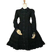 Long Sleeve Knee-length Cotton Flounced Collar Sweet Lolita with Lace