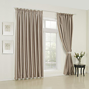 (Two Panels) Solid Beige Classic Room Darkening Curtains