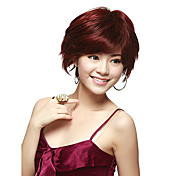 Capless Short Straight Red 100% Human Hair Wig