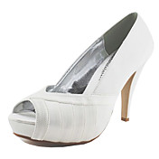 Satin Stiletto Heel Peep Toe With Ruched Party/Evening Shoes