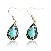Charming Alloy Oval Imitation Gem Stone Drop Earrings(More Colors)