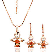 Gorgeous Crystal Angel 18K Gold Jewelry Set With Rhinestone Including Earring,Necklace