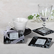 &quot;Timeless Traditions&quot; Elegant Black &amp; White Glass Photo Coasters (2 Pieces Set)