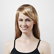 Capless Long Golden Blonde Silky Straight High Quality Synthetic Wig with Side Bang