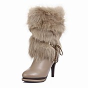 Leather Stiletto Heel Mid-Calf Boots With Fur Party And Evening Shoes