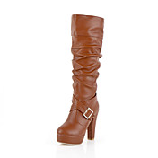 Leatherette Chunky Heel Knee High Boots With Buckle Party / Evening Shoes (More Colors)