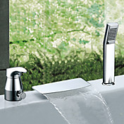 Two Handles Widespread Waterfall Chrome Finish Contemporary Tub Faucet With Handshower