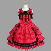 Ærmeløs Knælang Red Cotton Aristocrat Lolita Dress