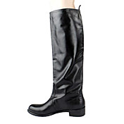 Elegant Leather Low Heel Knee High Boots With Zipper Party / Evening Shoes