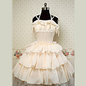 Sleeveless Knee-length Beige Cotton Princess Lolita Dress