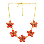 Elegant Alloy With Resin And Rhinestone Necklace