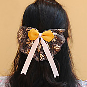 Handmade Yellow Satin and Lace 15.5cm Bow Aristocrat Lolita Headdress