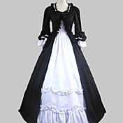 Langrmet Gulv-lngde Black Cotton Classic Lolita Dress